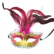 Glitter Mask with Feathers & Gem Stone