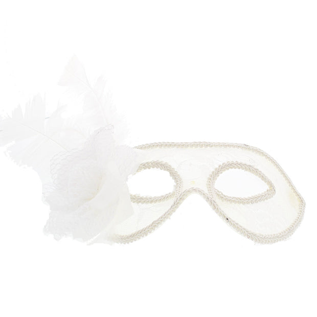 Lace Masquerade Mask with Glitter Flower & Feather
