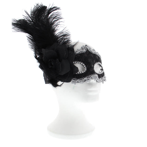 Black Lace Masquerade Mask with Gold or Silver Trim, Flower & Feather
