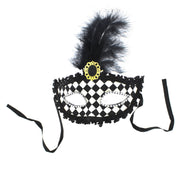 Black & White Chequered Lace Mask with Feather and Jewels
