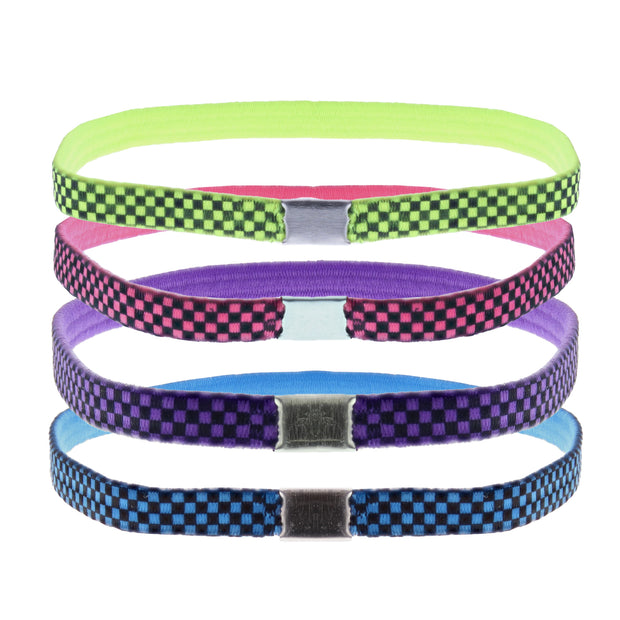 4 on a Card Multi Colour Chequered Design Head Elastics