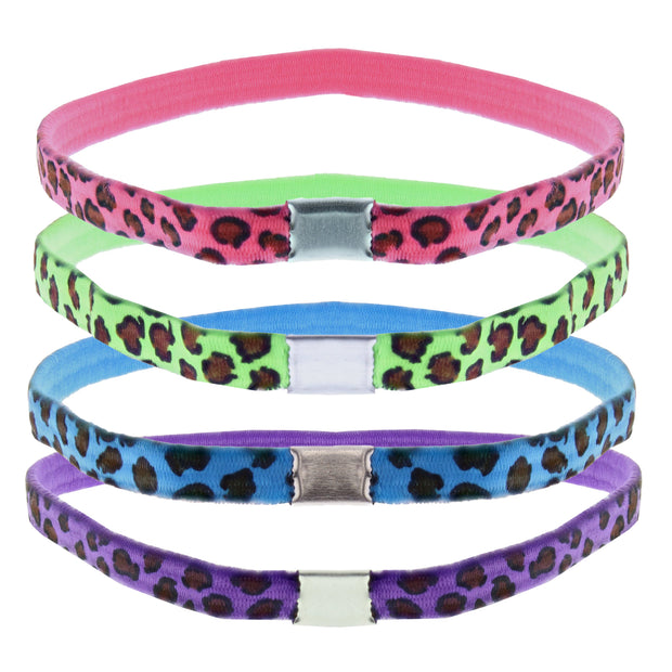 4 on a Card Multi Colour Leopard Print Head Elastics