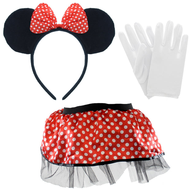 3 Piece World Book Day Set - Polka Dot Bow Headband, Pair of Small White Gloves & Girls Polka Dot Skirt (Children or Teenagers)