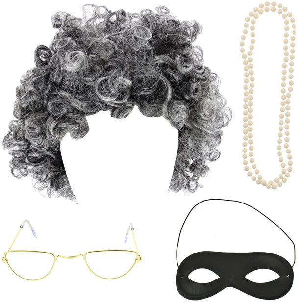 4 Piece Granny Kit - Gangster Granny Wig, Bead Necklace, Glasses & Mask