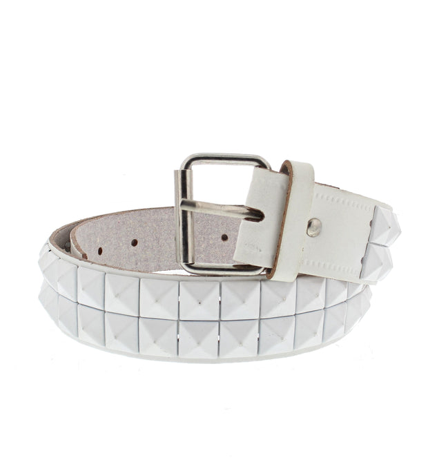 2 Row Pyramid Studded Reconstructed Leather Belt