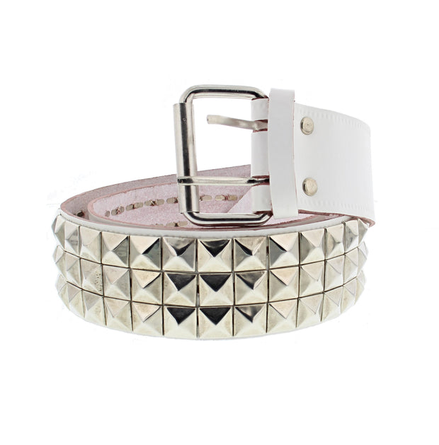 3 Row Pyramid Studded Reconstructed Leather Belt