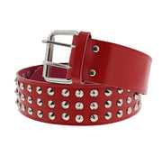 3 Row Conical Studded Reconstructed Leather Belt