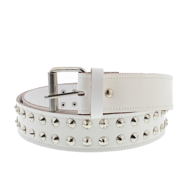 2 Row Conical Studded Reconstructed Leather Belt