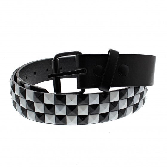 Bicolour Chessboard 3 Row Pyramid Belt