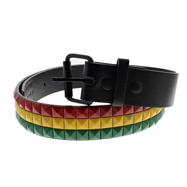 Rasta Coloured 3 Row Pyramid Belt