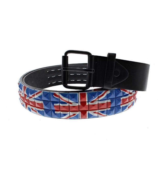 Union Jack/ British Flag 3 Row Pyramid Belt
