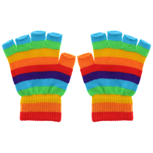 Multicoloured Rainbow Stripe Fingerless Gloves