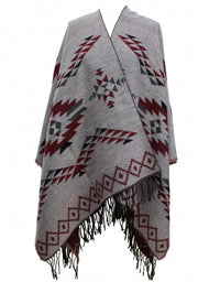 Reversible Aztec Print Winter Poncho/ Shawl