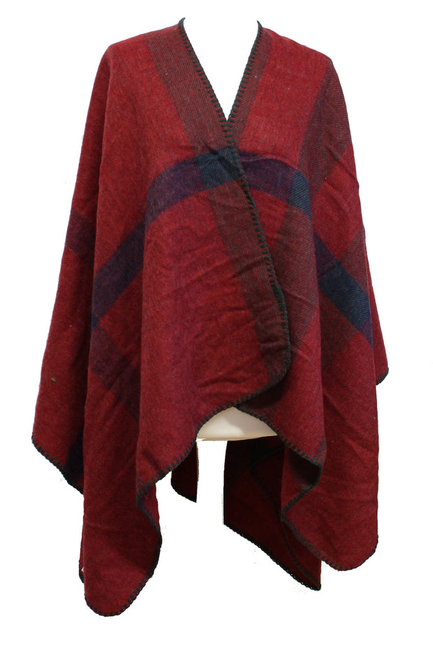 Checkered Winter Poncho/ Shawl