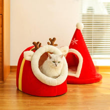 Load image into Gallery viewer, Semi Closed Soft Kitty House(Christmas Tree & Elk Pet House)
