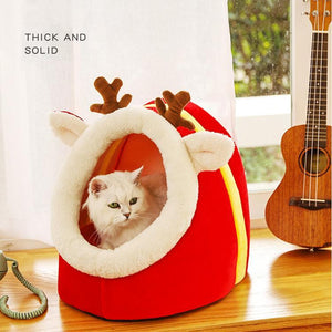 Semi Closed Soft Kitty House(Christmas Tree & Elk Pet House)