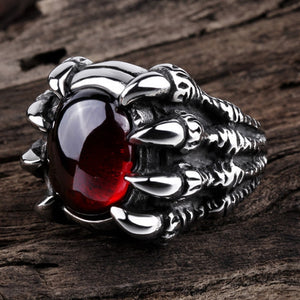 Gothic Jewelled Claw Ring Red And Black | Blood Moon Gothic