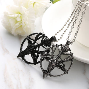 Satanic Pentagram Goat Skull Necklace Black And Silver | Blood Moon Gothic