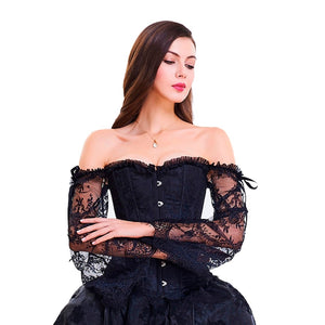 Gothic Corset with Lace Sleeves Corset from Blood Moon Gothic