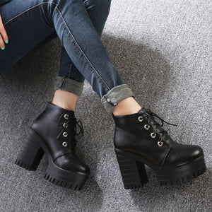 Chunky Heel Platform Ankle Boots Shoes from Blood Moon Gothic