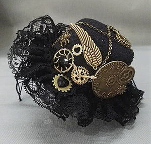 Lacy Steampunk Hat and Glasses Set Hair Accessories from Blood Moon Gothic