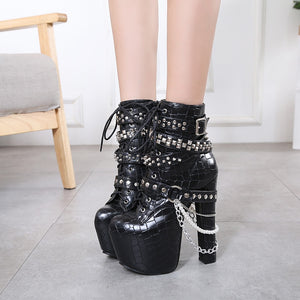 Metal Chic Handmade Platform Boots Shoes from Blood Moon Gothic
