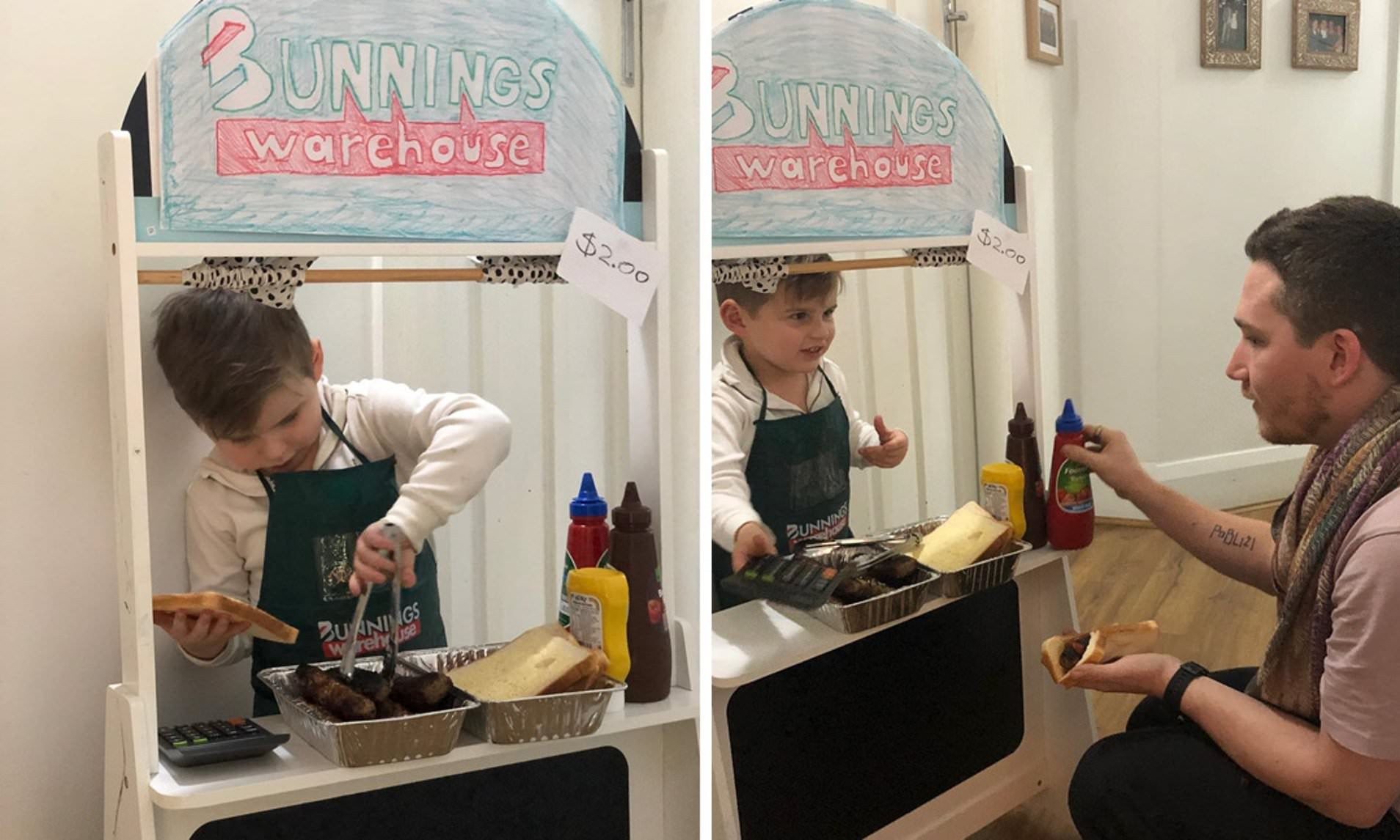 Boy Builds His Own Bunnings Sausage Sizzle Because He's Missed Them So Much