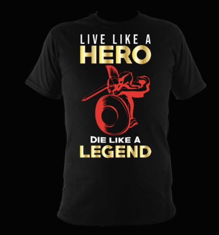 Sparta T-Shirt Black - Live Like A Hero Die Like A Legend - sparta-car-care