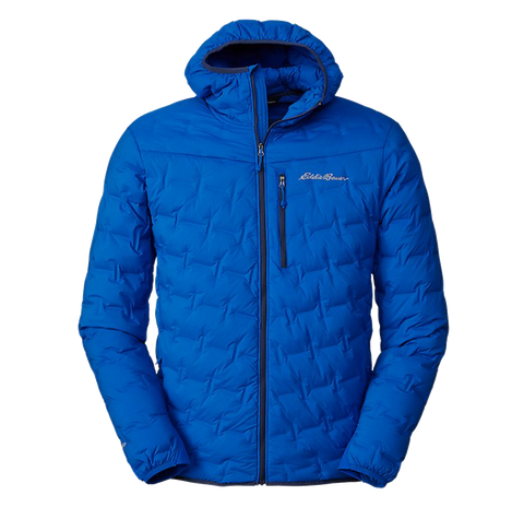 A blue men's Eddie Bauer insulated puffy jacket
