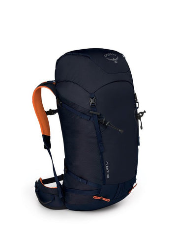navy blue Osprey mountaineering backpack with orange straps