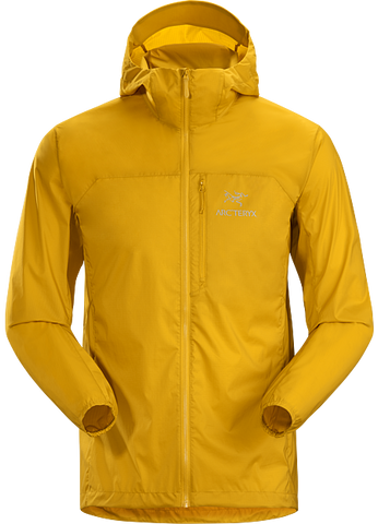 mustard-yellow Arc'teryx wind jacket