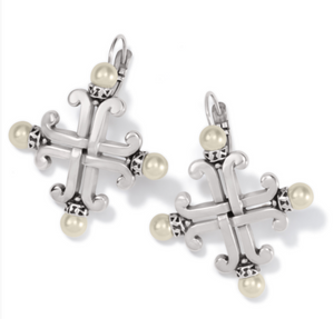 Taos Pearl Cross Leverback Earrings