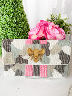 Bee's Knees Grey Beaded Clutch