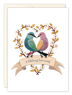 Two Birds in a Heart - Wedding Card