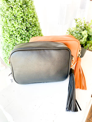 BLACK Pebbled Tassel Bag with Zip Top-NO STRAP ATTACHED