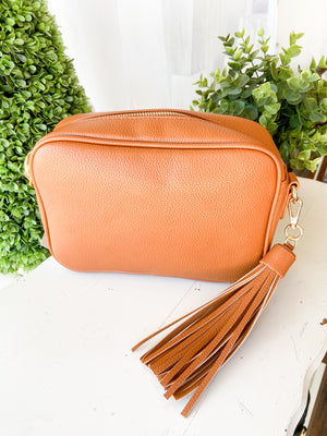 CAMEL Pebbled Tassel Bag with Zip Top-NO STRAP ATTACHED