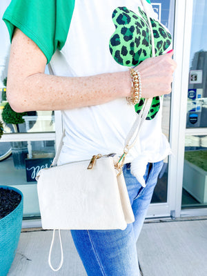 Riley Wristlet/Crossbody IVORY