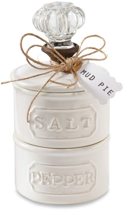 Door Knob Salt / Pepper Cellar Set Mudpie