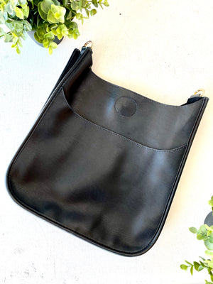 AHDORNED - BLACK Soft Faux Leather Classic Size Messenger-NO STRAP ATTACHED