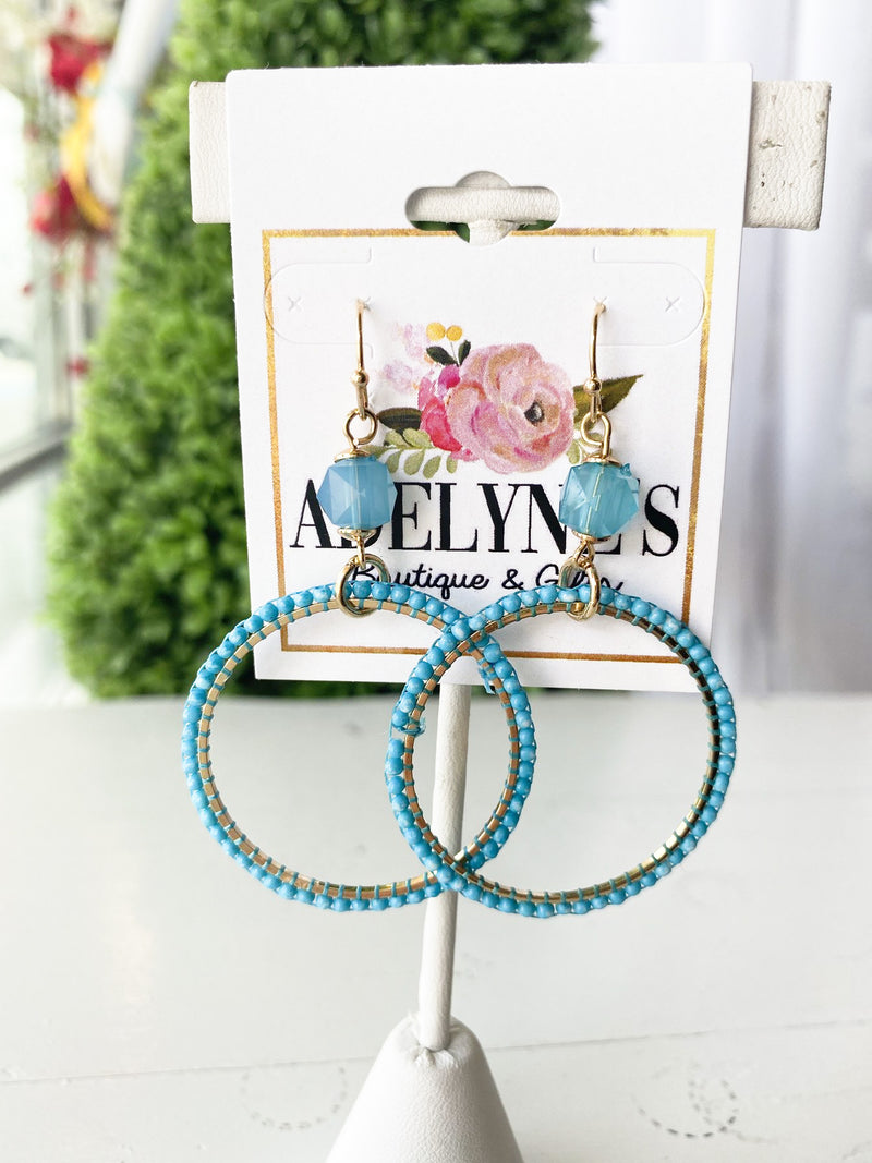 Olivia Beaded Earrings AQUA