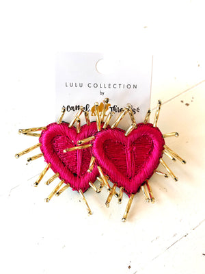 Spiked Pink Heart Earrings