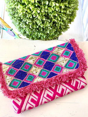 Maisy Beaded Fringe Clutch