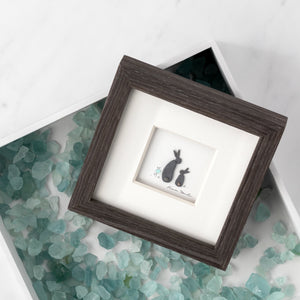 Bunny Love Wall Art Pebble Wood Frame