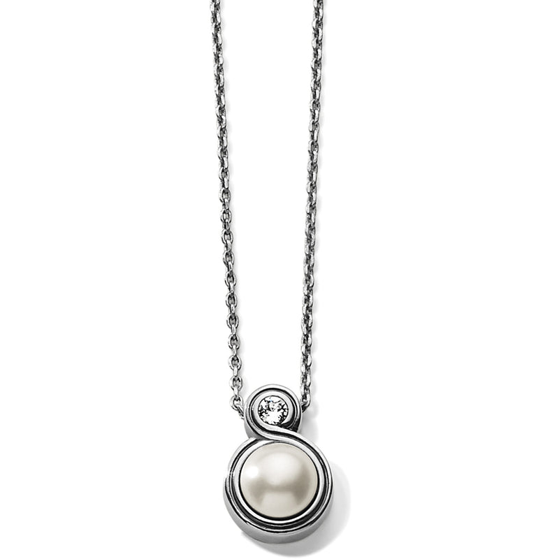 Infinity Sparkle Petite Necklace-PEARL