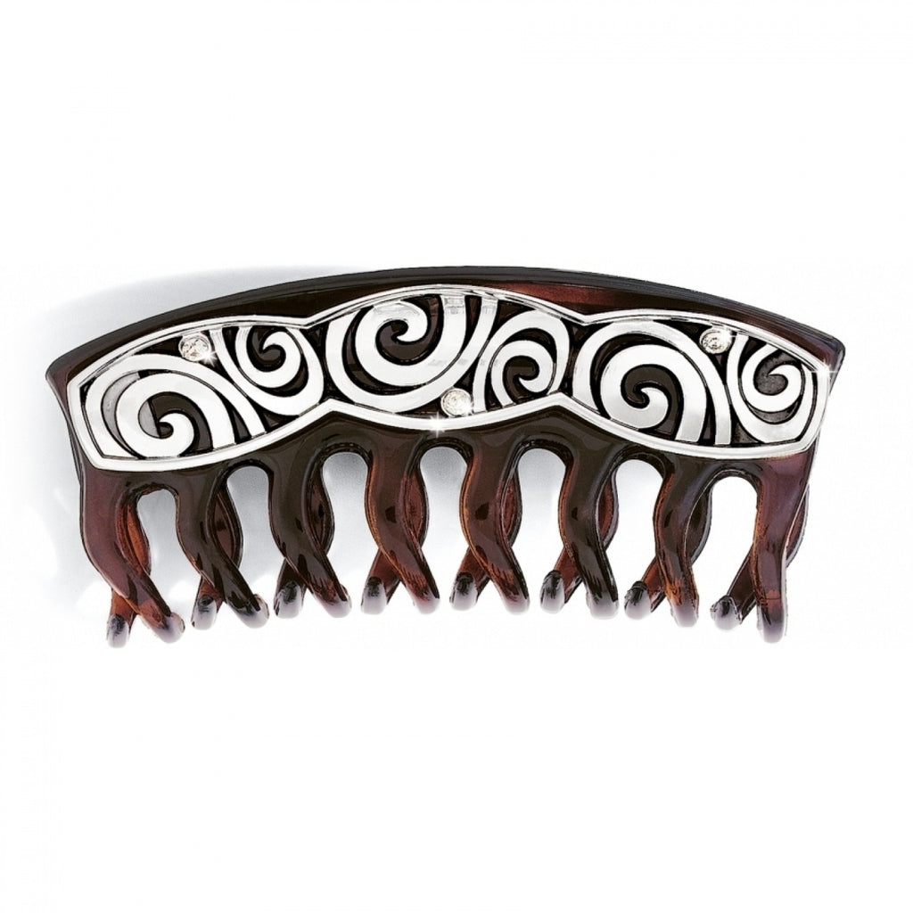 London Groove Large Hair Clip SILVER-BROWN