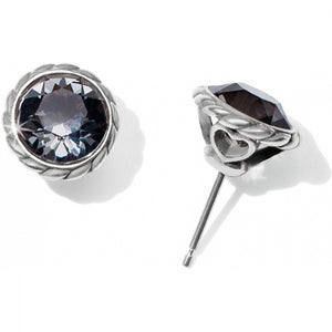 Iris Stud Earrings SILVER-BLACK