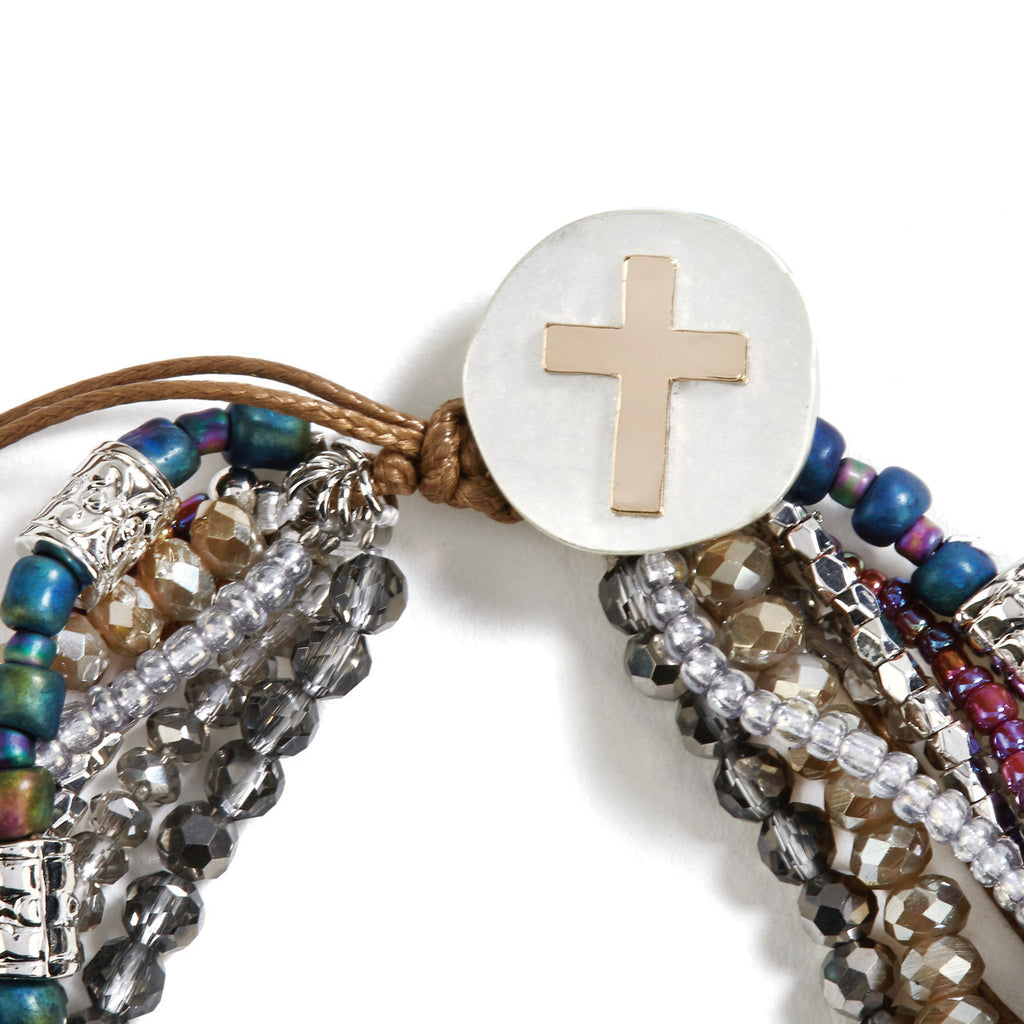 Grey Your Journey Prayer Bracelet