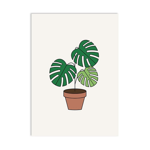 Postal monstera planta maceta postcard pot plant