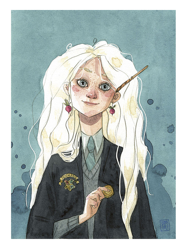 Esther Gili ilustración acuarela Luna Harry Potter