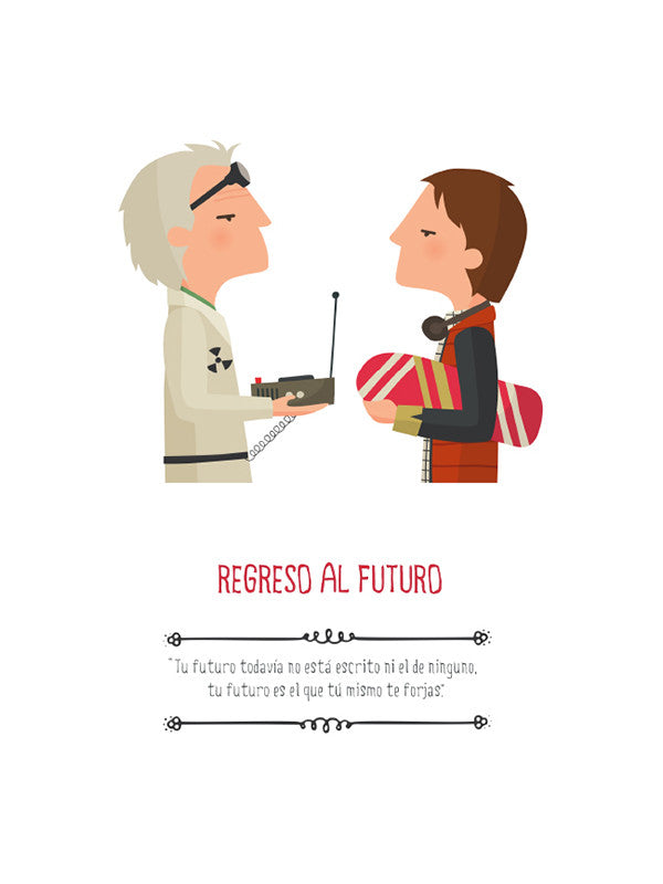 Print Back to the future Ilustración lámina Tutticonfetti Regreso al futuro print, Michael J Fox, Marti, Doc